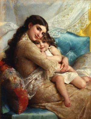 portrait of a mother and daughter by emile munier