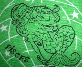 Pisces mermaid green fabric