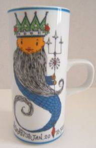 aquarius waterbearer cartoon mug vintage