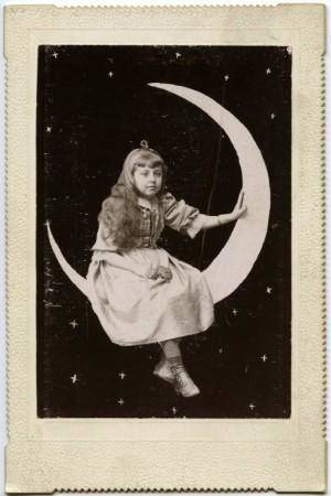 vintage girl in moon