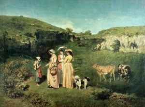 Young-Women-of-the-Village-Giving-Alms-to-a-cowherd-1852-xx-Gustave-Courbet