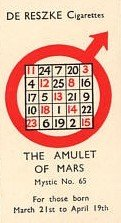 mars Vintage cigarette card astrology