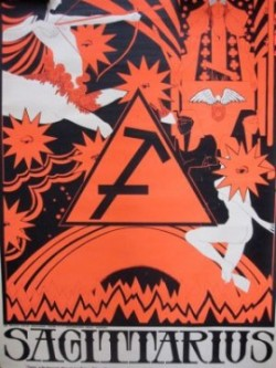sagittarius vintage blacklight poster
