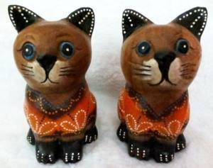 Wooden Cat Twins