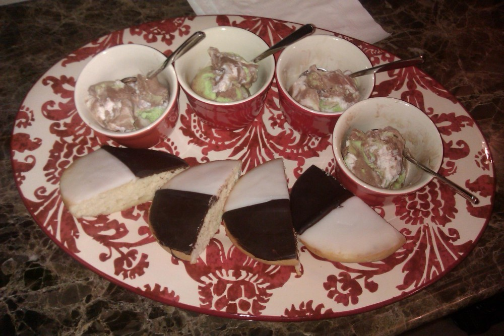 black and white cookies and spumoni