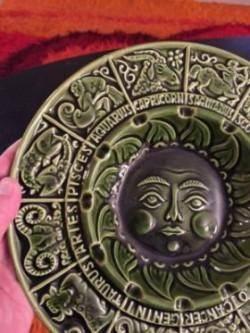 Green vintage zodiac plate