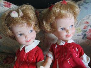 gemini vintage twin dolls red dress