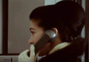 margot fonteyn in phone booth close up
