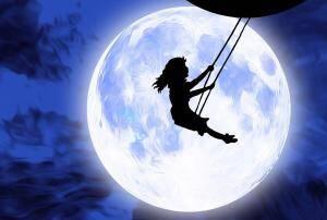 girl in moon swing